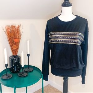 NWT & Layered Black Embroidered Sequins Sweatshirt